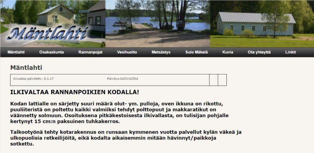 Ilkivaltaa Mäntlahden kodalla