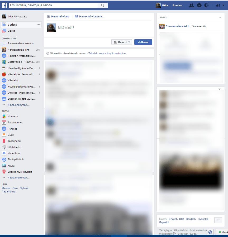 Facebook ilman muotoiluja.