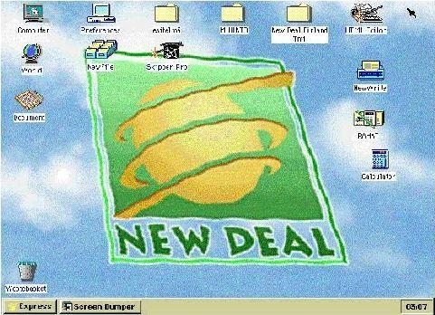 New Dealin työpöytä jopa 286 Pc koneella.