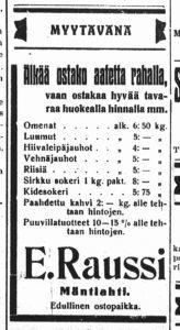 Eevert Raussin ilmoitus Osuuskauppa Ympyrän Mäntlahden myymälän avajaispäivänä 21.12.1937 Haminan lehdessä.