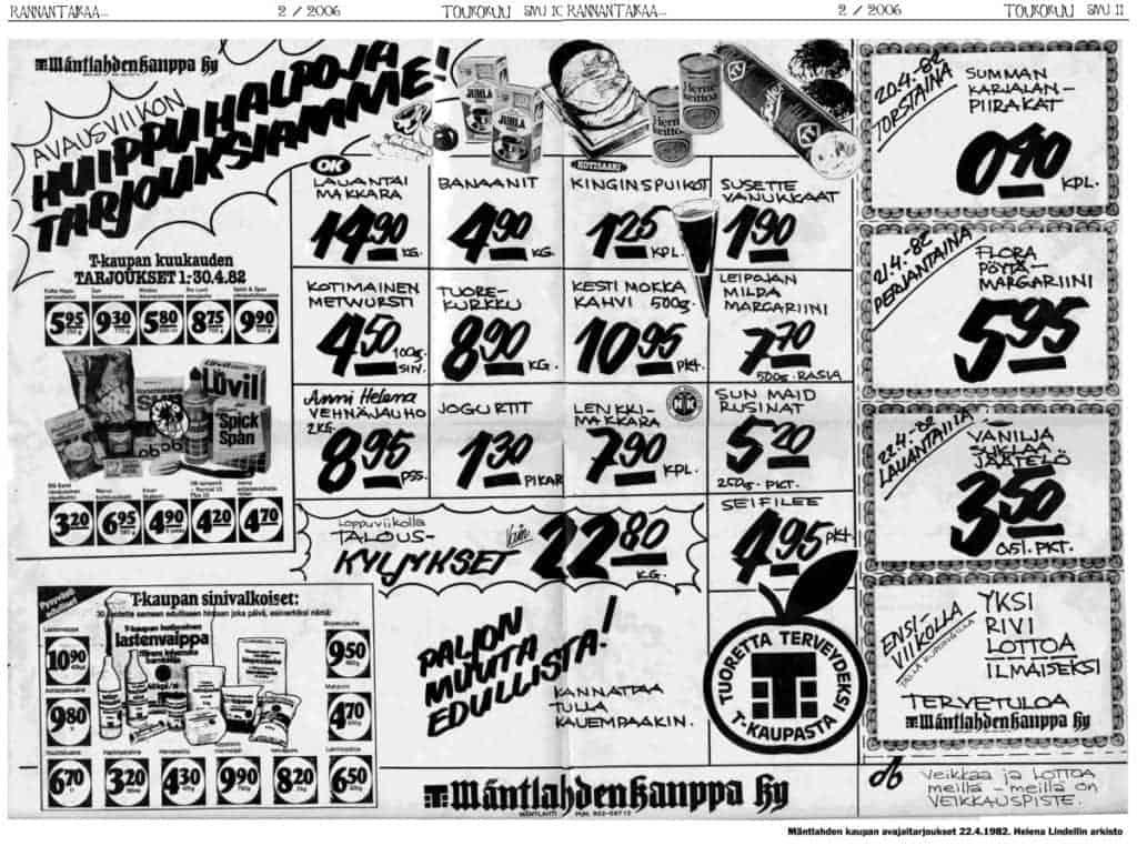 Mäntlahden kaupan avajaistarjoukset 22.4.1982. Helena Lindellin arkisto.