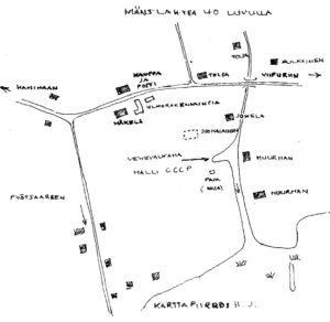 Harri Jääskeläisen piirtämä kartta pommituksista.