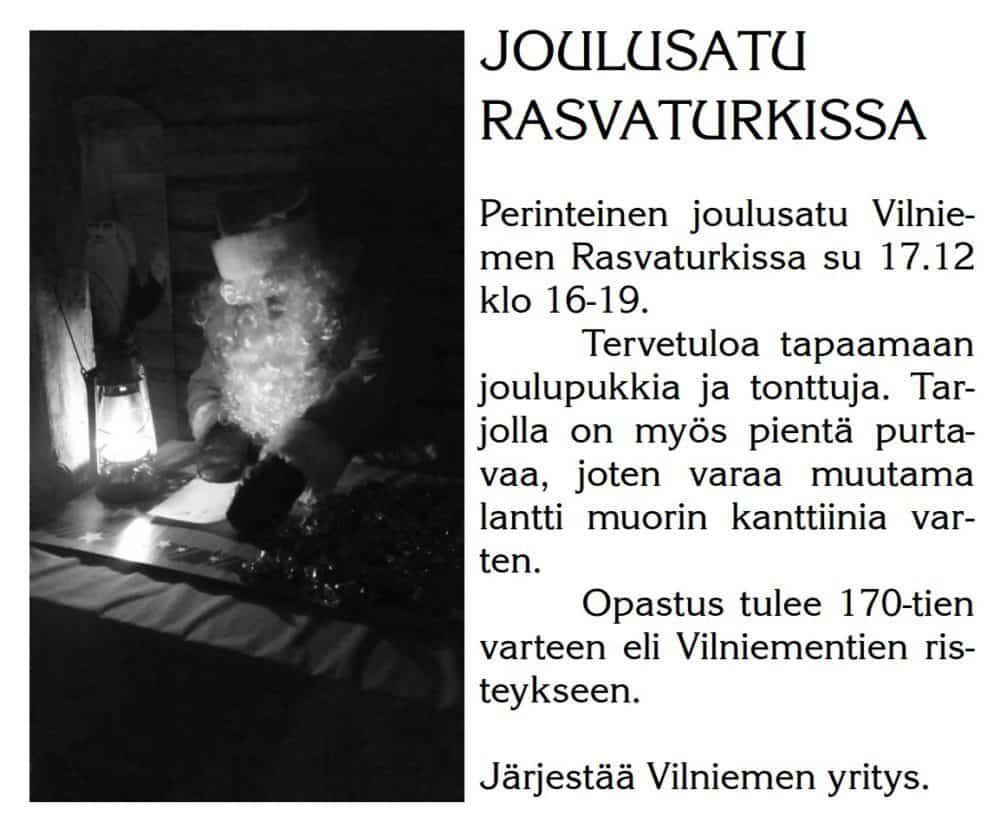 Joulusatu Rasvaturkissa @ Vilniemen Rasvaturkki | Vilniemi | Suomi