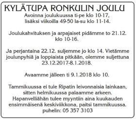 Joulukahvitus ja arpajaiset @ Klamilan kylätupa Ronkuli | Klamila | Suomi
