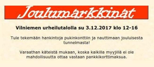 Vilniemen Joulumarkkinat @ Vilniemen urheilutalo