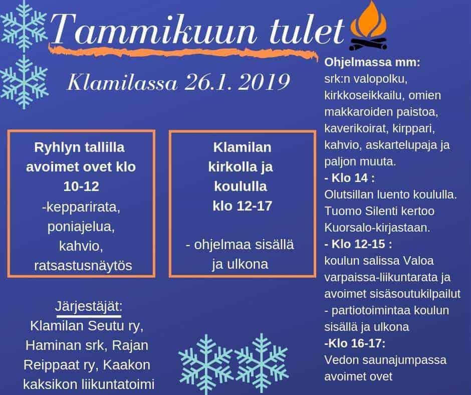 Tammikuun  tulet ohjelma @ Klamila