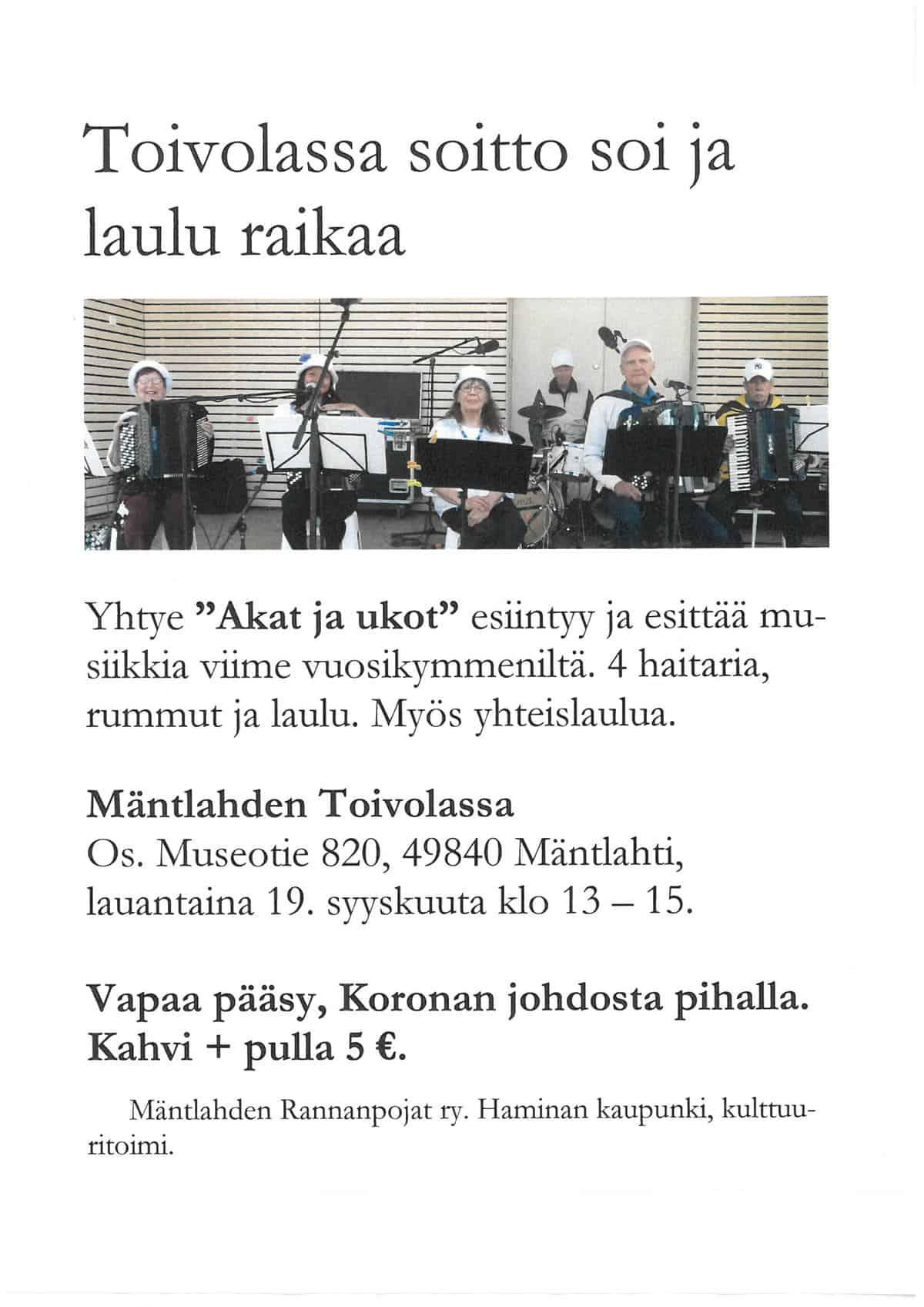 Orkesteri Akat ja Ukot Toivolassa @ Seurantalo Toivola